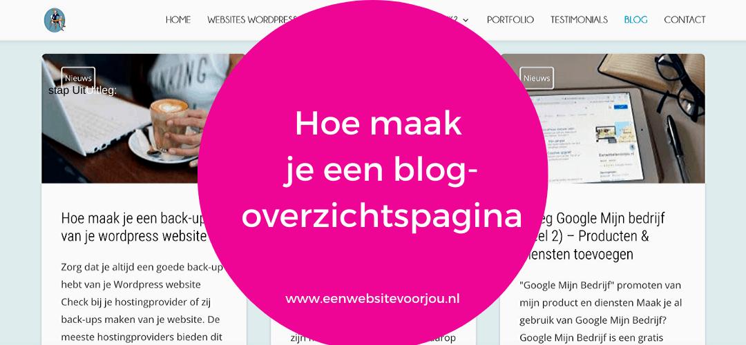 Hoe maak je een blog overzichtspagina in DIVI